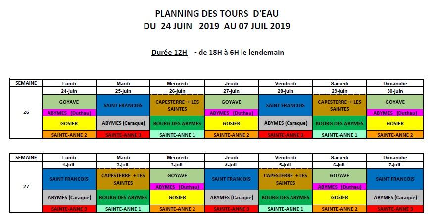 Le planning des tours d'eau du 24 juin au 7 juillet
