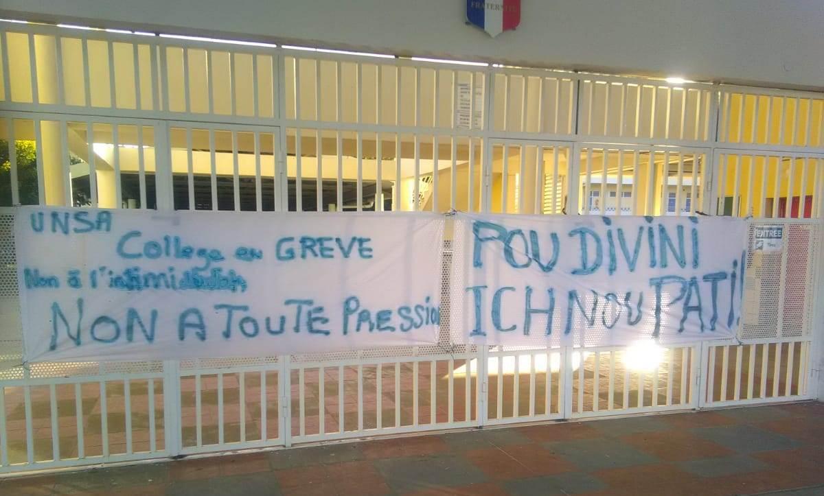 Les agents territoriaux du collège du Diamant entament une grève illimitée