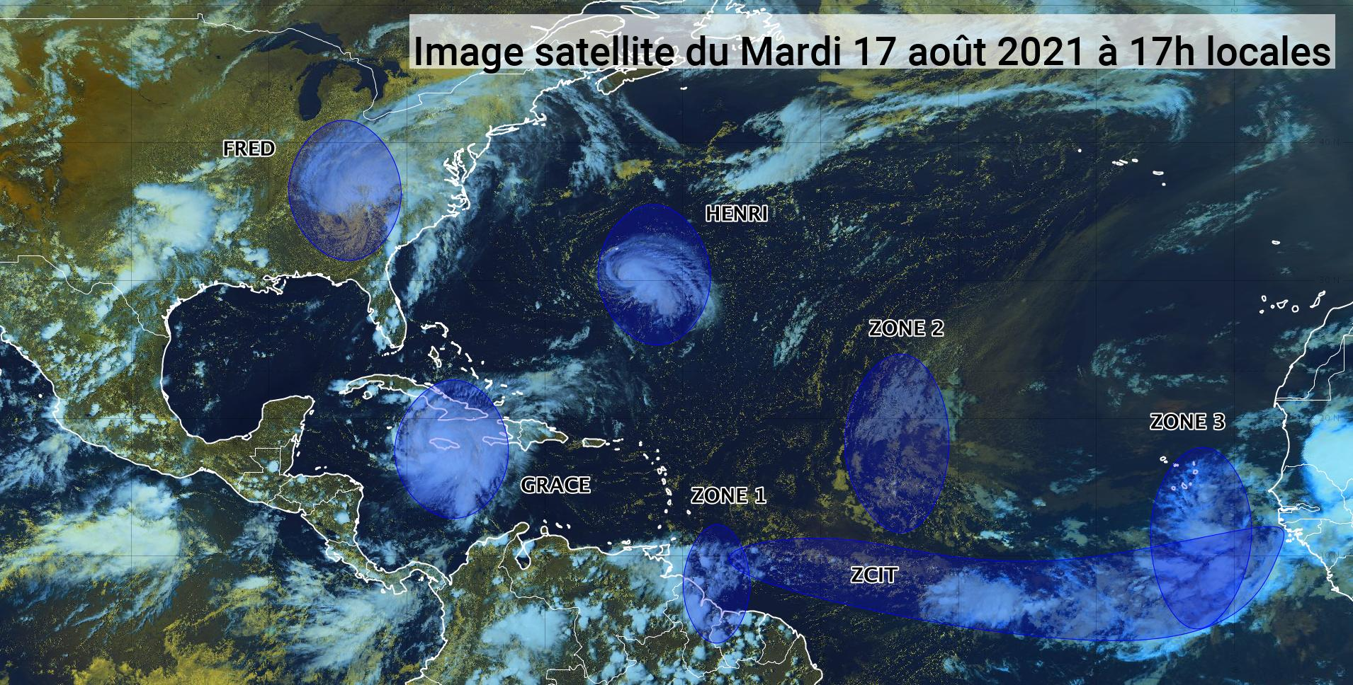 Trois ondes tropicales en cours en Atlantique (bulletin du 17/08/21)