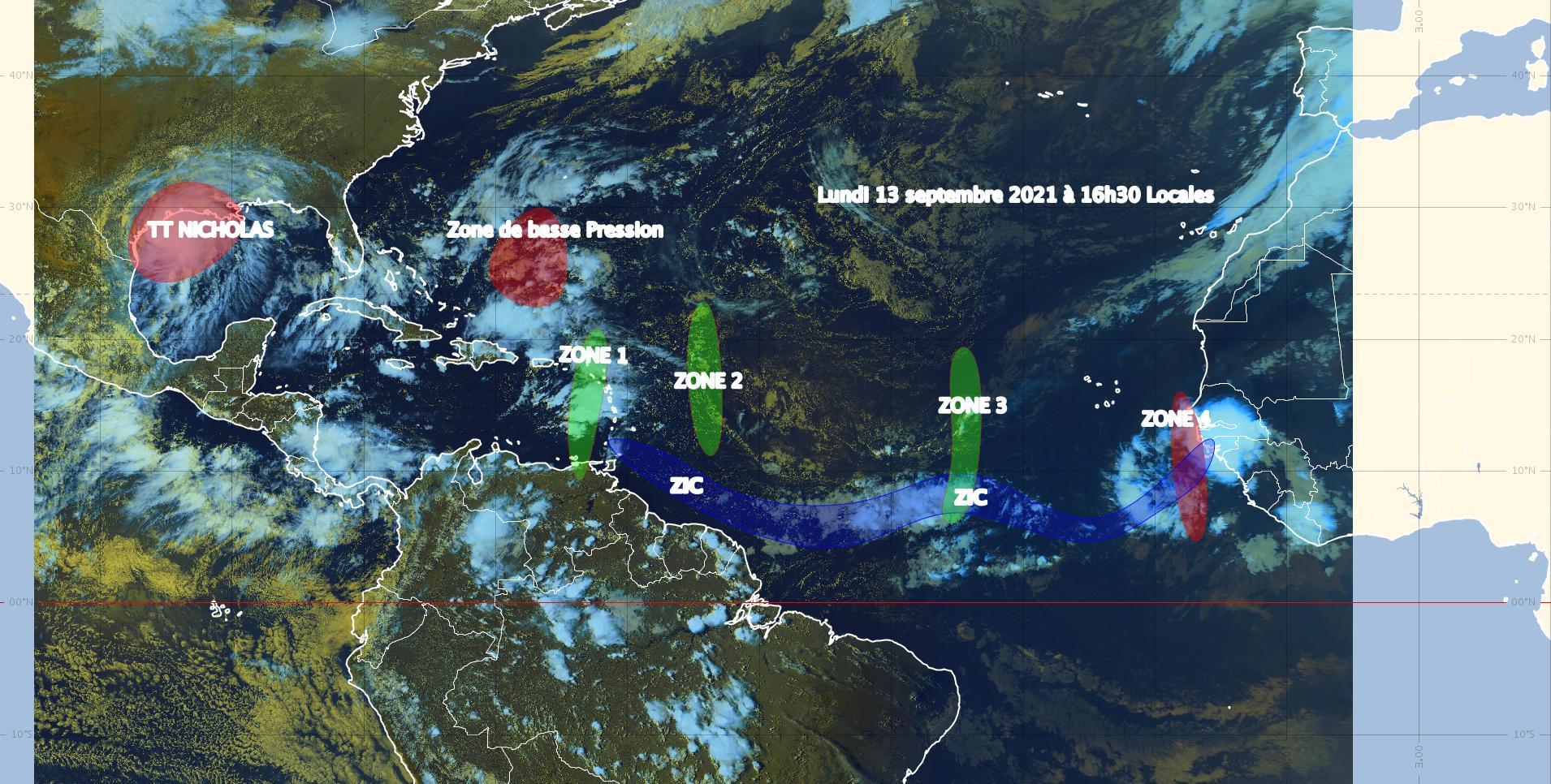 Nicholas se dirige vers le sud du Texas et une dépression tropicale pourrait atteindre les Antilles dimanche (bulletin du 13/09/21)