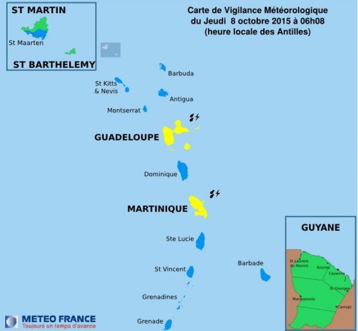 La Guadeloupe en vigilance jaune