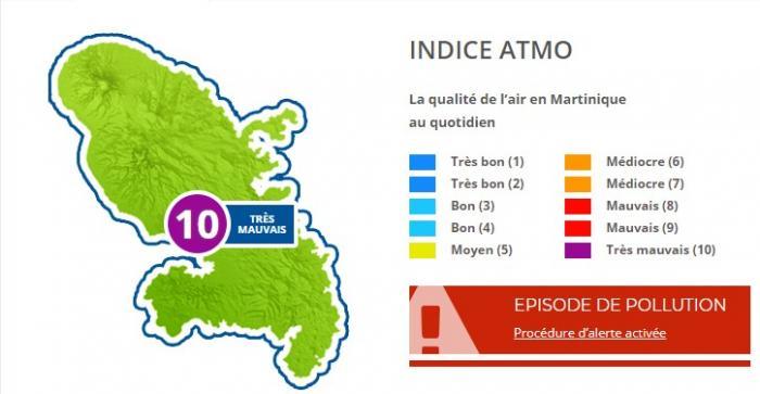 La qualité de l'air est très mauvaise en Martinique, ce mercredi